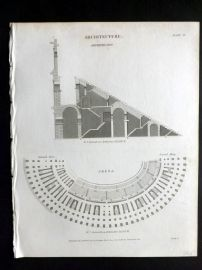 Rees 1820 Antique Print. Architecture 02 Ampitheatre